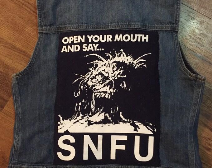 Punk Rock SNFU Punk Denim Vest Chi Pig Skate punk Hardcore Canadian Punk Youth Brigade DOA Dayglo Abortions Snuff Battle Jacket