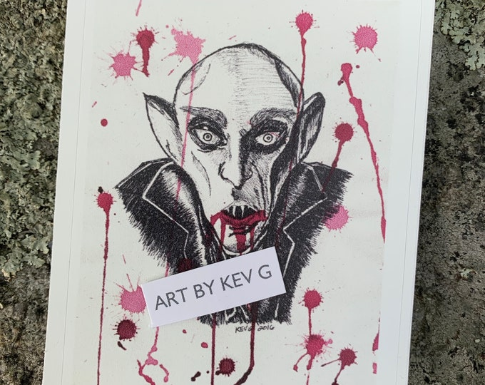Nosferatu Sticker by Art By Kev G Gothic Goth Horror Monsters Dracula Mummy Boris Karloff Vampire Bela Lugosi Artwork Vampyr GoreWhore Blood