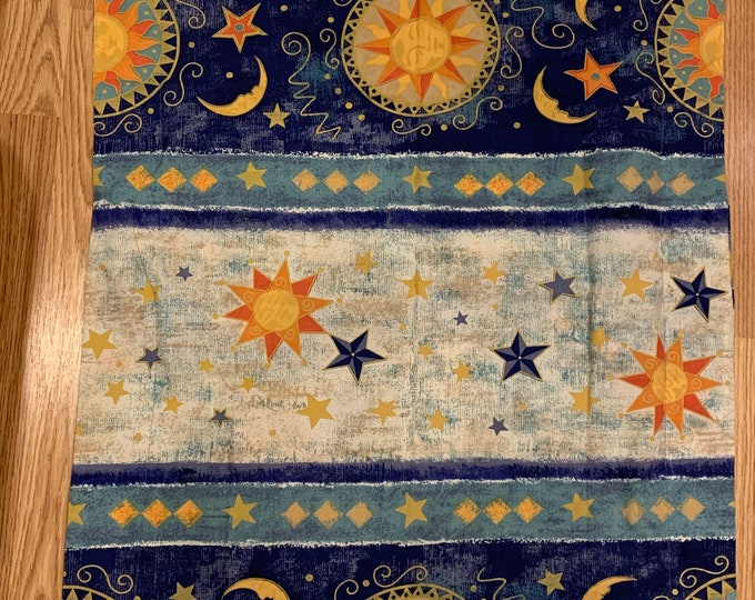 Celestial Blue and Gold Sun and Moon Pillowcases  - Altar Space Moon  and Stars - Moon Worship - Zodiac