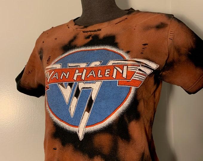 Distressed Van Halen Band Shirt (S) Sammy Hagar David Lee Roth Hard Rock Eddie Van Halen Aerosmith Motley Crue Ratt Whitesnake Def Leppard