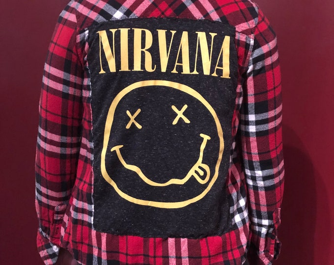 Nirvana Flannel (Ladies S) Kurt Cobain Dave Grohl Grunge Krist Novoselic Pat Smear Band Shirt Smile Guns N Roses Pearl Jam Soungarden L7 Tad
