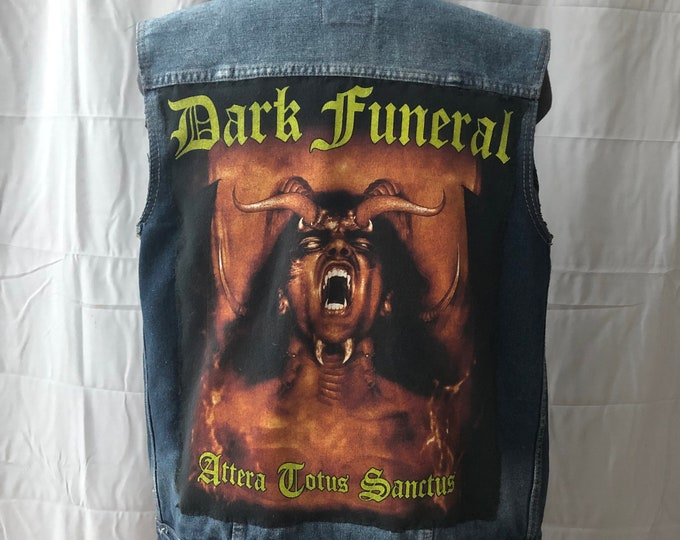 Dark Funeral Patched Denim Vest - Heavy Metal Battlevest Metalcore Deathcore Black Metal Metal Darkthrone Burzum Satyricon Dark Tranquillity