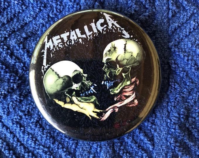 Metallica Pinback Pin Pins James Hetfield Lars Ulrich Ride The Lightning Master of Puppets Kirk Hammett Megadeth Anthrax Pantera Iron Maiden