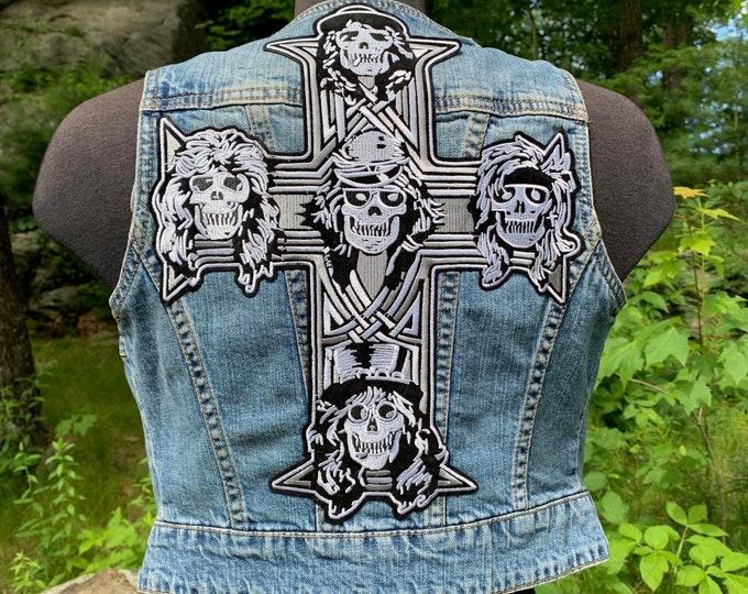 Patched Denim Vest Guns N Roses Slash Axl Rose (Ladies S) Battlevest Anthrax Ozzy Osbourne Lamb of God Motorhead Metallica Hanoi Rocks Metal
