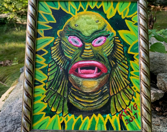 Creature From The Black Lagoon Acrylic on Canvas Board Art Painting by ArtByKevG  Framed Artworks Artwork Artist Horror Movies Witchcraft