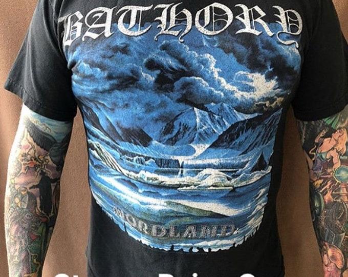Bathory Band Shirt (MED) Pagan Black Metal Death Metal Thrash Viking  Gorgoroth Burzum Celtic Frost Hellhammer Carcass Mayhem Dimmu Borgir