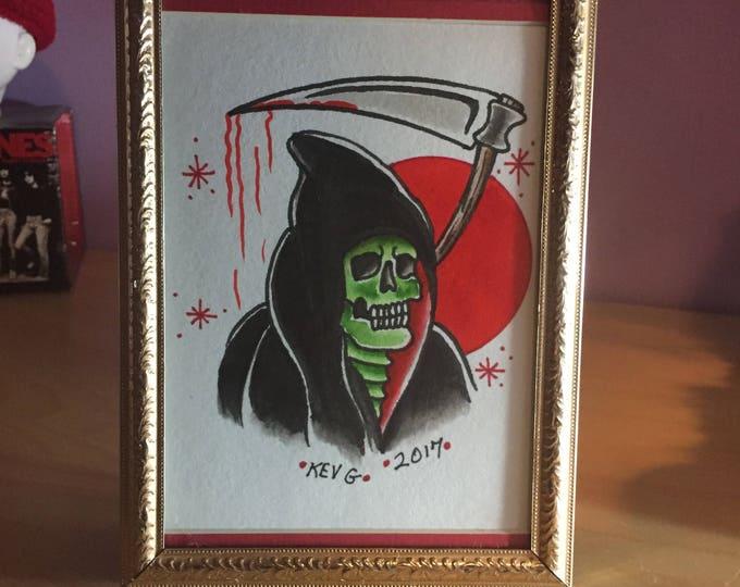 Grim Reaper Tattoo Flash watercolor art painting framed reaper blood halloween arts artist tattoo art sickle goth gothic horror gore artwork