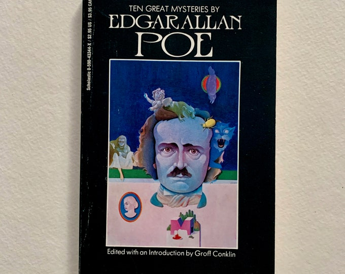 Vintage 1989 Edgar Allan Poe 10 Great Mysteries Paperback Book Vincent Price Gothic Goth Poet Writer Novel Horror The Black Cat Witchy