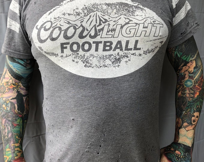 Distressed Coors Light Beer shirt Football (MED)  Ale Brew Pub Bud Lite  Brewer Brewing Brewery PartyTime Busch beer Beerpong Boston booze