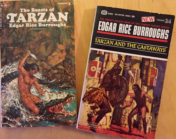 Vintage Tarzan Paperback Books Edgar Rice Burroughs Jungle Safari Johnny Weissmuller Greystoke Apeman Chimp Lions Charles Dickens Cheetah