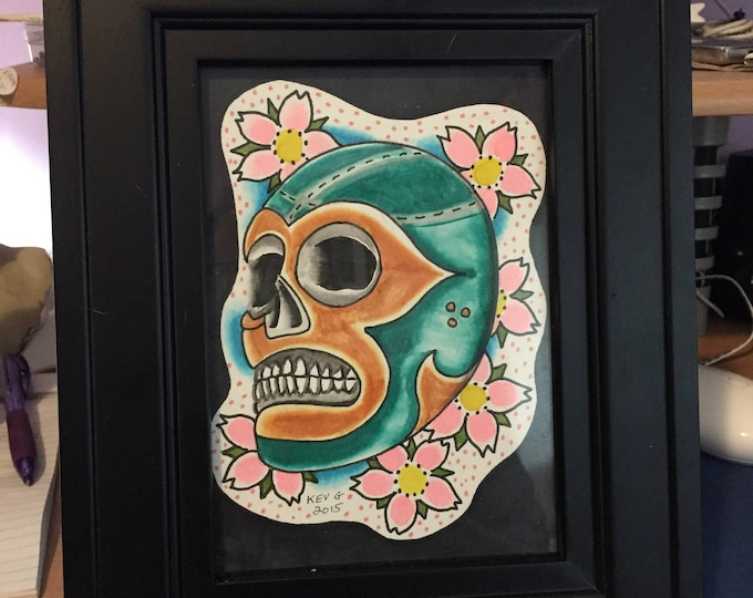 Lucha  watercolor art painting framed and matted Luchador LuchaLibre Lucha Underground Art By Kev G Arts Artwork Kalisto Rey Mysterio mask