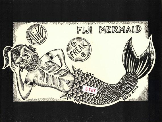 Fiji Mermaid Freakshow Art Print By Artbykevg Freaks Sideshow Coney Island Venice Beach Pt Barnum Fire Eater Sword Swallower Tod Browning