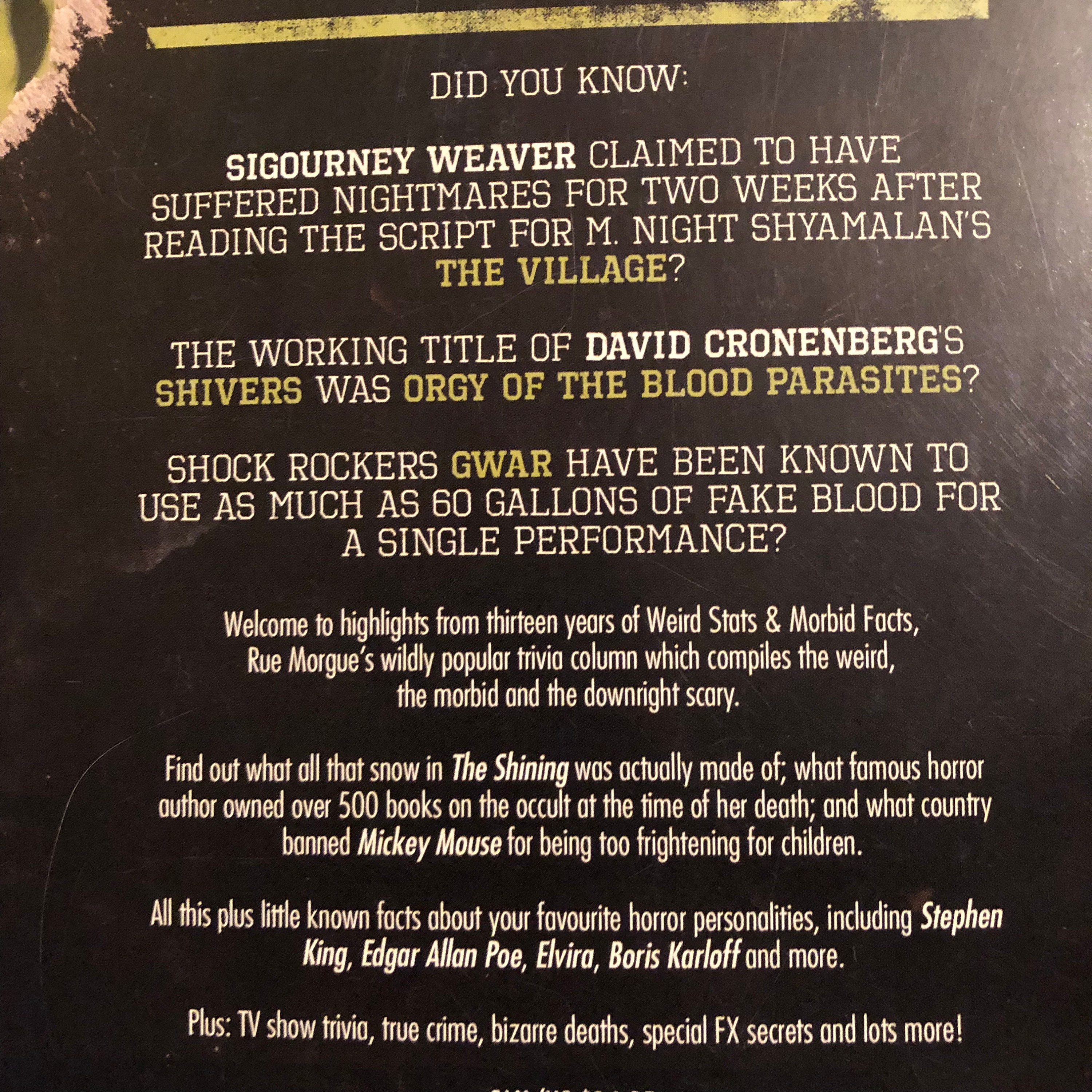 Weird Stats & Morbid Facts by Rue Morgue Magazine Softcover