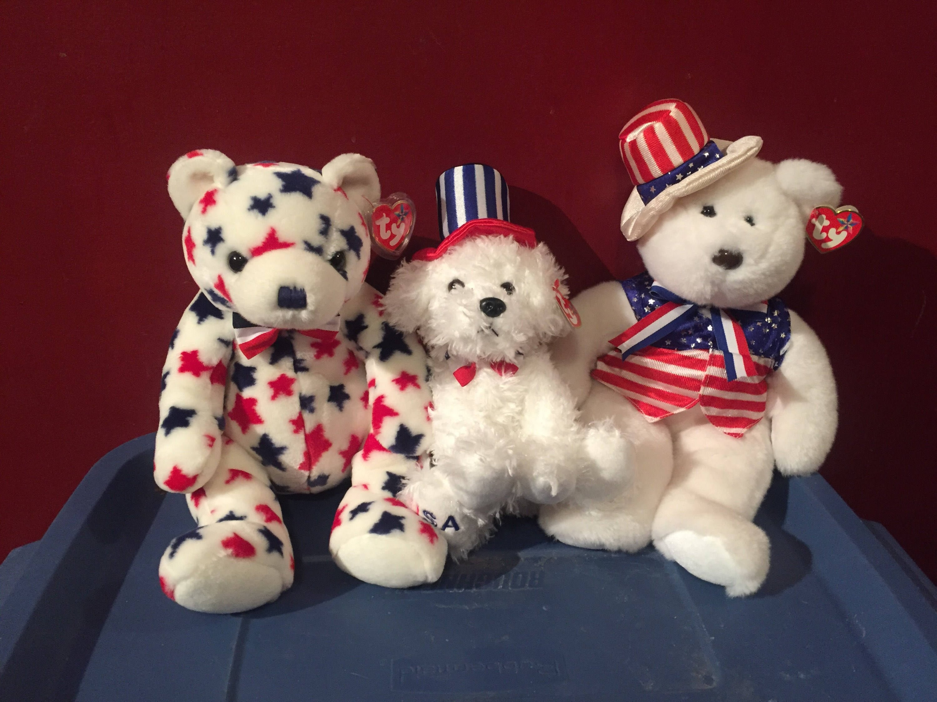 a7984cff51a All American Trio Beanie Buddies Beanie Babies TY USA Patriotic Fourth of  July Independence Day Murica Uncle Sam Collectibles Cute