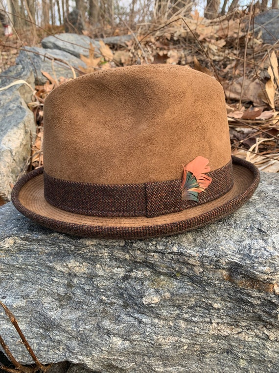 Vintage Suede Stetson 7 1/4 WPL 9667 - 30s 40s Fas
