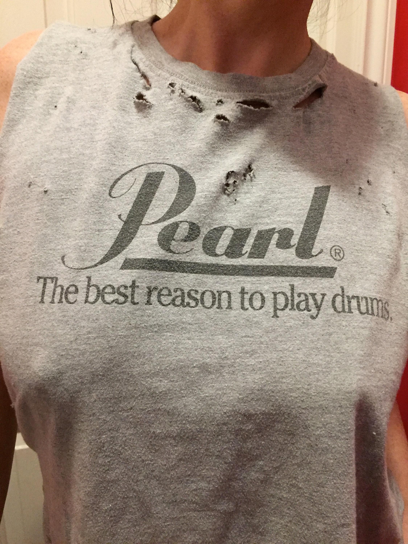 pearl drums distressed drummer band shirt drumming rock star rock n roll peter criss dennis. Black Bedroom Furniture Sets. Home Design Ideas