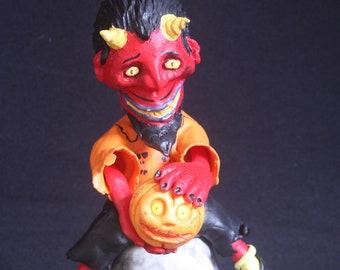 Devil Nodder Head on Skull Candy Container Mache