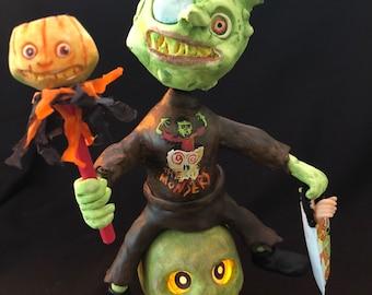 Halloween Trick or Treat Paper Mache Monster Lanten Bobble Head