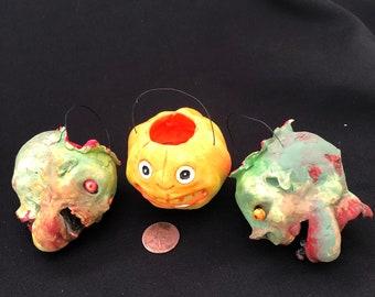 "2"" Zombie & Pumpkin Halloween Ornaments"