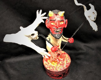 Vintage Wind-Up Devil with Spinning Ghosts Candy Box