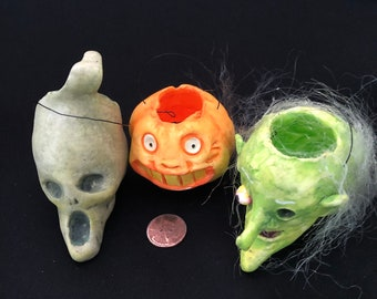 """Small 2"""" Halloween Head Ornaments Witch Ghost Pumpkin"""
