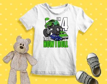 ec1e1066 4 Years Old 4th Birthday Monster Trucks Shirt Boys