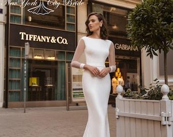 Sheath Wedding Dress Etsy