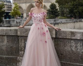 Pink Wedding Gowns | Pink Wedding Dress Etsy