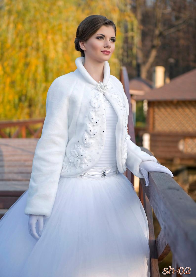 bridal bolero Wedding Coat Jade from NYC Bride,Winter coat faux fur coat wedding jacket bridal coat