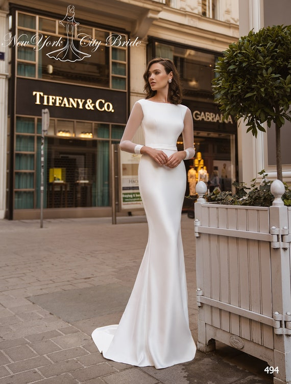 Sheath wedding dress Alaia, Long sleeve wedding dress, Satin wedding dress,  Bridal gown, Cathedral wedding dress, mermaid wedding dress