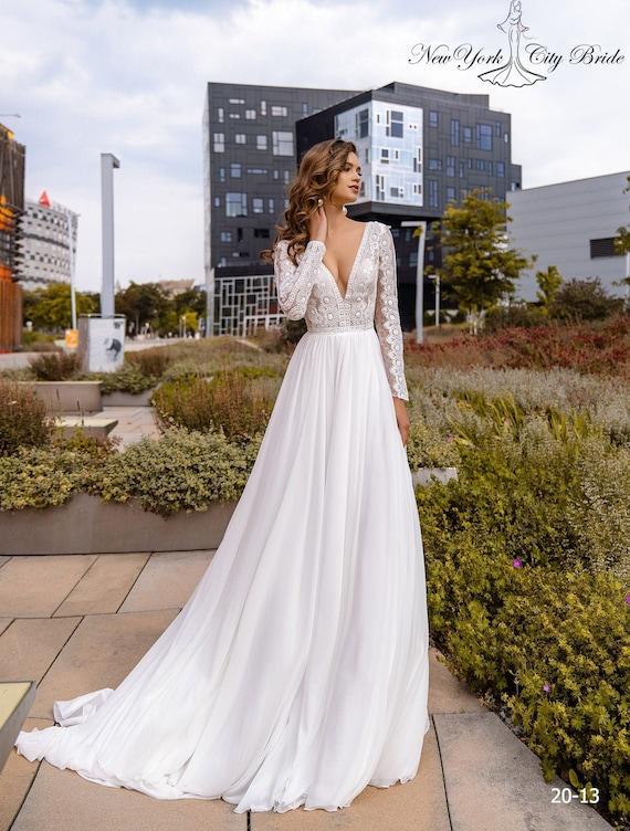 Wedding Dress Simone V Neck Wedding Dress Long Sleeve Etsy