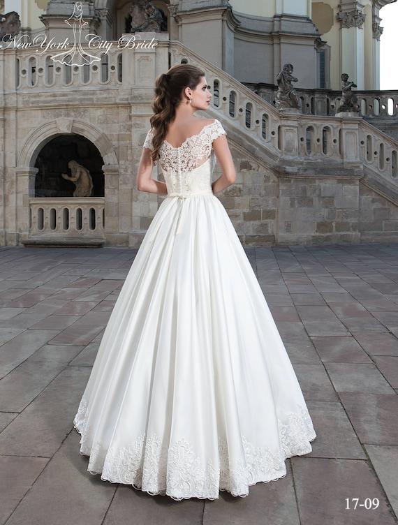 Bride Wedding dress line White Ivory Satin wedding A Kristi dress from wedding wedding dress dress dress NYC wedding rwqrIRg
