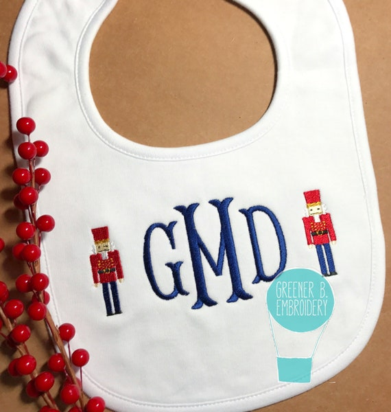 Xmas Gift  2018 Embroidered Personalised Baby Bib Baby/'s 1st Christmas