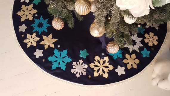 Quilted Christmas Tree Skirt Blue Silver Last One Ready To Ship