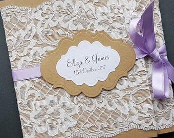 Handmade rustic lace wrap-around pocketfold wedding invitation