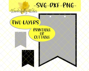 Machine Cut File OR Print at Home - Banner Pennant Layered Shadow Layer SVG Cut file for Cricut and Silhouette template printable cuttable