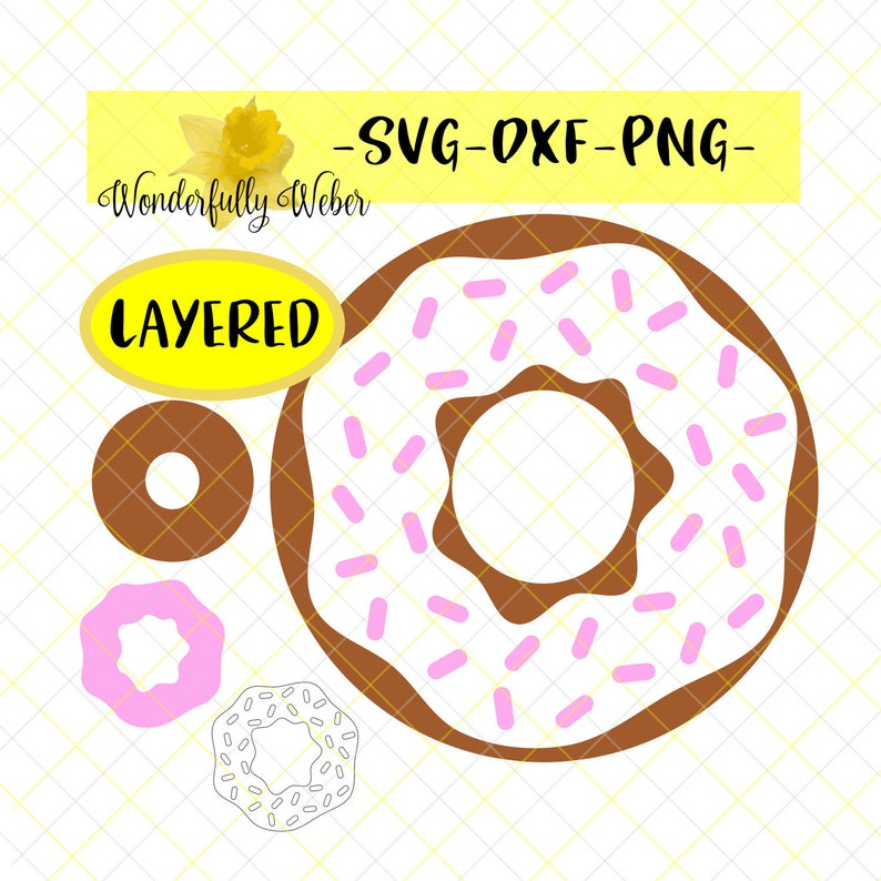 Donut with Icing and Sprinkles Layered SVG Cut file for ...