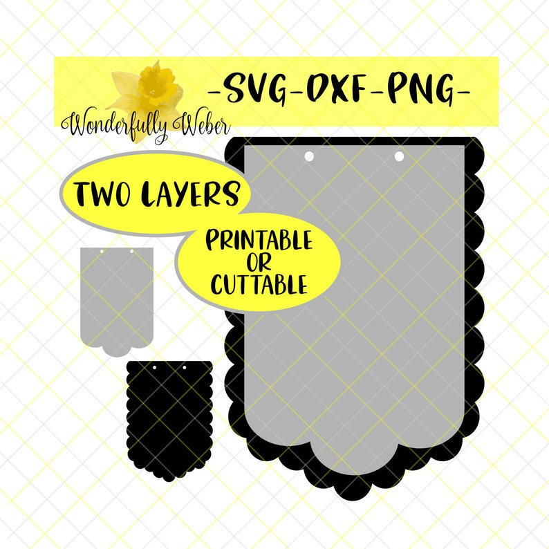 Machine Cut File OR Print at Home  Banner Pennant Layered Shadow Layer SVG Cut file Cricut Silhouette template scallop banner round circle