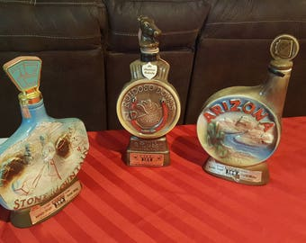 Lot of 3 Vintage Jim Beam Decanters - Stone Mountain; Ruidoso Downs, and Arizona