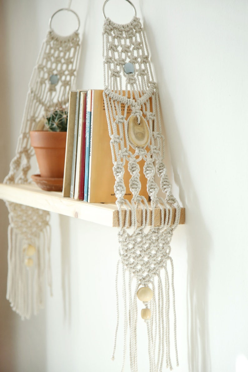 Macrame Wall Hanging Shelf  Shelf Modern Macrame Macrame image 0