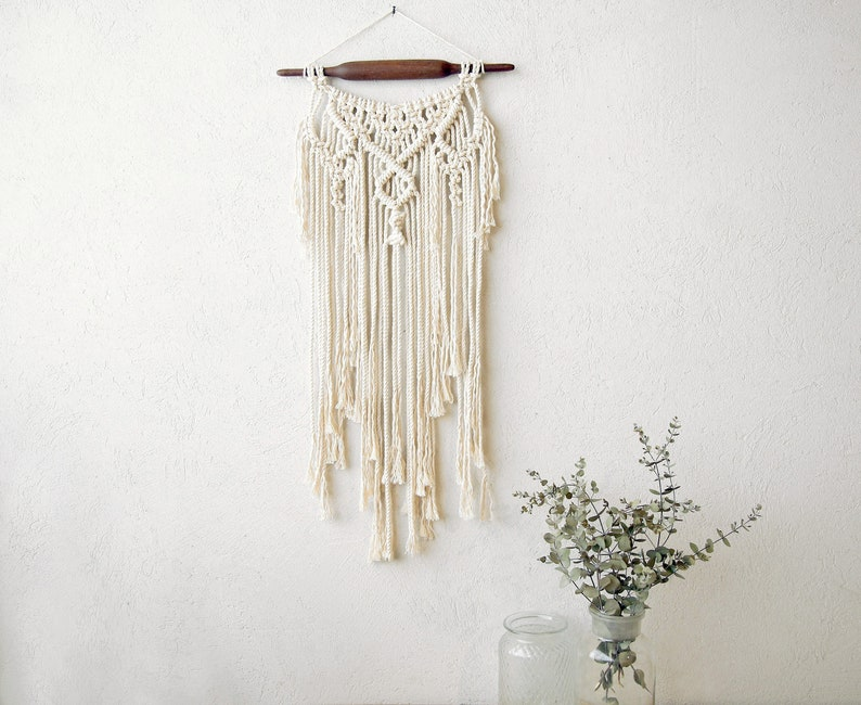 Small natural Wall tapestry Braided around vintage rolling pin