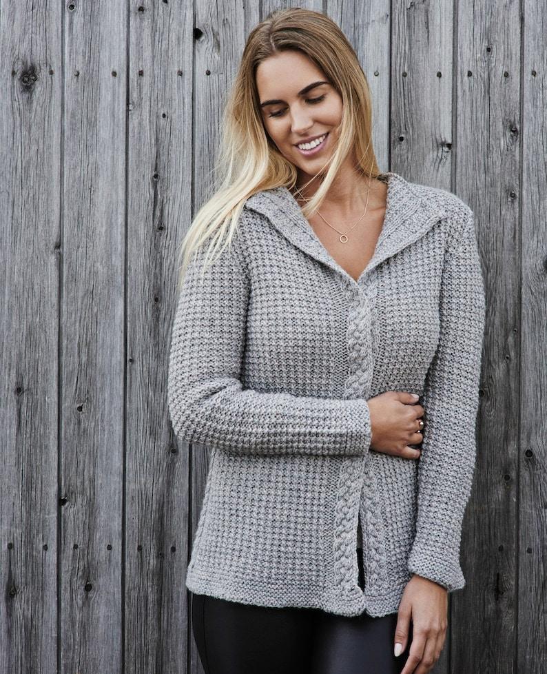 ad7bcb3af Women s waffle knit cardigan PDF knitting pattern  Cable