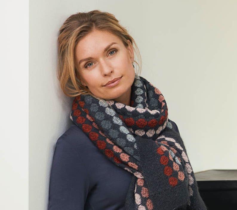 Adotte Scarf W Dots Pdf Knitting Pattern Women S Wool Etsy