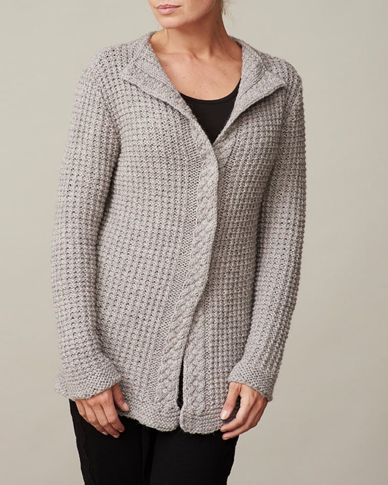 27bf04d03954 Women s waffle knit cardigan PDF knitting pattern  Cable