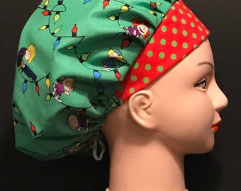 ced79ec7a90 CHRISTMAS PEANUTS SNOOPY Holiday Surgical Womens Scrub Hat Bouffant fits  ponytail, Chemo Cap, Surgical Hat, Nurse Cap