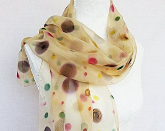 Silk Scarf, Hand painted Silk  scarf,  handpainted silk scarf,brown silk scarf  gift for her  silkscarvesparis