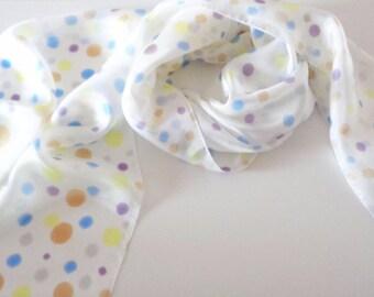 silk scarf  blue and brown silk scarf blue white silk scarf gift for her long silk scarf silkscarvesparis