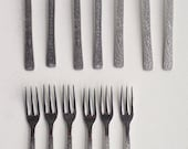 GERALD BENNY Forks Glacial Bark Texture, Made in England, Mid Century