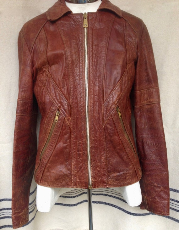 Leather Riding Jacket Nice Patina 1940's Zippered