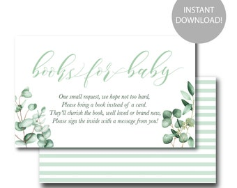 INSTANT DOWNLOAD! Baby Shower Book Request, Library, Printable insert; gender neutral greenery
